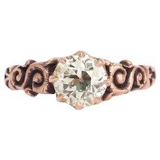 Circa 1890s 14k Rose Gold 1.06ct Old European Brilliant Engagement Ring-VEG#423A