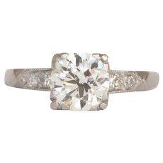 Circa 1930 Platinum 1.20ct Old European Brilliant Diamond Engagement Ring-VEG#424A