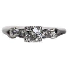 Circa 1920 - Platinum GIA .31ct Diamond Engagement Ring - VEG#431