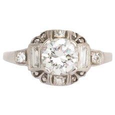 Circa 1940 Platinum .80ct Transitional Round Diamond Engagement Ring-VEG#438A
