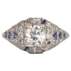 Circa 1920 Platinum.82ct Old European Brilliant Diamond Engagement Ring-VEG#443B