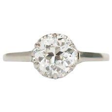 Circa 1930 Platinum GIA 1.10ct Old European Brilliant Engagement Ring-VEG#498A
