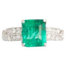 Circa 1930 Platinum 1.69ct Natural Emerald Engagement Ring-VEG#548A