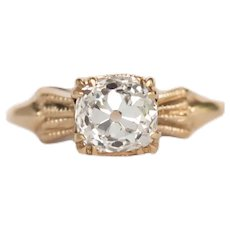Circa 1900 14k Yellow Gold GIA .99ct Diamond Engagement Ring-VEG#685A