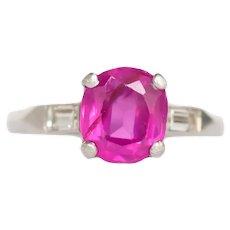 Circa 1920 Platinum 1.40ct Old Cushion Pink Sapphire Engagement Ring-VEG#695A