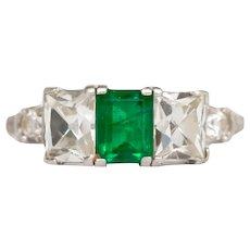 Circa 1920 Platinum .90ct Colombian Emerald Engagement Ring-VEG#727A