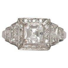 Circa 1930 Platinum GIA 1.26ct Square Emerald Cut Diamond Engagement Ring-VEG#728A