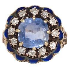 Circa 1900 14k Yellow Gold 2.50ct Native Cushion Cut Blue Engagement Ring-VEG#733A
