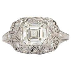 Circa 1930 Platinum GIA  1.49ct Asscher Diamond Engagement Ring-VEG#735A