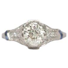 Circa 1920 Platinum GIA 1.05ct Old European Brilliant Diamond Engagement Ring-VEG#736B