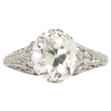 Circa 1910 Platinum GIA 1.64ct Cushion Diamond Engagement Ring-VEG#739A