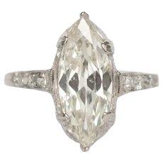 Circa 1920 Platinum GIA 1.29ct Marquise Diamond Engagement Ring-VEG#744A