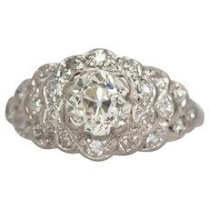 Circa 1920 Platinum GIA .83ct Old European Brilliant Diamond Engagement Ring-VEG#750A