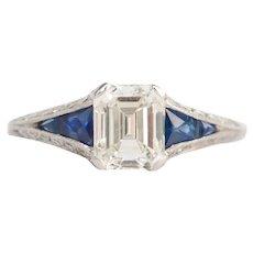 Circa 1930 Platinum 1.07ct Emerald Cut Diamond Engagement Ring-VEG#755A