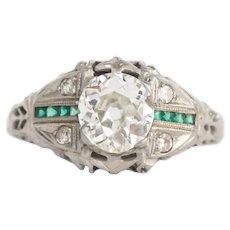 Circa 1930 18k White Gold GIA .81ct Old European Brilliant Diamond Engagement Ring-VEG#756A