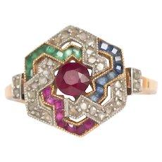 Circa 1920 Art Deco 18k Yellow Gold .25ct Ruby Engagement Ring-VEG#757A