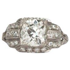 Circa 1920  Platinum GIA 1.69ct Cushion Diamond Engagement Ring-VEG#766A