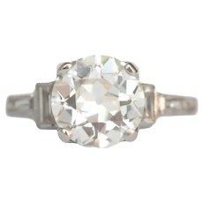 Circa 1920 Platinum GIA 1.73ct Old European Brilliant Diamond Engagement Ring-VEG#767A