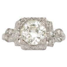 Circa 1910 Platinum GIA 1.34ct Old European Brilliant Diamond Engagement Ring-VEG#771A