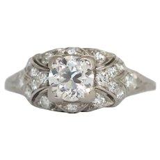 Circa 1920 Platinum .68ct Old European Brilliant Diamond Engagement Ring-VEG#776A