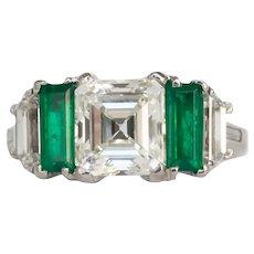 Circa 1920 Platinum GIA 2.34ct Emerald Cut Diamond Engagement Ring-VEG#797A
