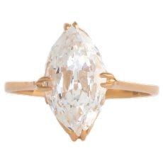 Circa 1930 22k Yellow Gold GIA 1.66 Marquise Diamond Engagement Ring-VEG#799A