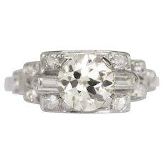 Circa 1920s Art Deco Platinum GIA Certified 1.01ct Old European Brilliant Diamond Engagement Ring - VEG#803A