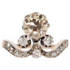 Circa 1890s Victorian 14k Yellow Gold and Platinum 1.60ct Old European Brilliant Diamond Engagement Ring - VEG#807A