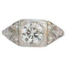 Circa 1930s Art Deco Platinum .90ct Transitional Old Cut Round Diamond Engagement Ring - VEG#808A