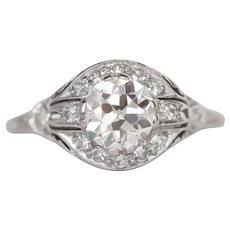 Circa 1920s Art Deco Platinum GIA Certified 1.01ct Old European Brilliant Diamond Engagement Ring - VEG#817A