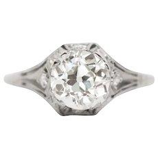 Circa 1920s Art Deco Platinum 1.52ct Old European Brilliant Diamond Engagement Ring - VEG#818A