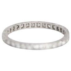 Circa 1920s Art Deco Platinum .55cttw Old Single Cut Diamond Wedding Band - VEG#821B