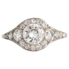 Circa 1920 Platinum .80ct Old European Brilliant Diamond Engagement Ring-VEG#834A
