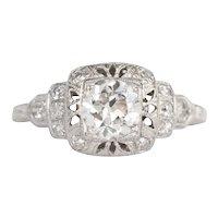 Circa 1920s Platinum GIA .80ct Old European Diamond Engagement Ring - VEG#840A