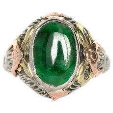 Circa 1880s 14K Yellow, White, and Rose Gold 1.20ct Jade Engagement Ring - VEG#845