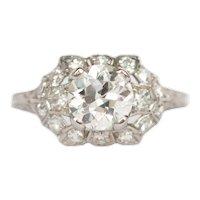 Circa 1920 Platinum GIA 1.10ct Old European Brilliant Diamond Engagement Ring-VEG#871A