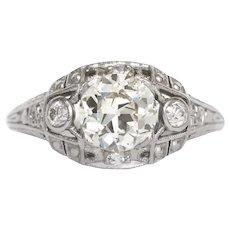 Circa 1920's  Platinum 1.05ct Old European Brilliant Cut,  single cut, &  European cut Diamond Engagement Ring-VEG 896