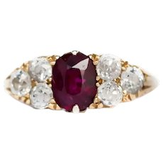 Circa 1890 18k Yellow Gold 1.00ct Ruby and .50cttw Old Mine Cushion Engagement Ring-VEG#899A