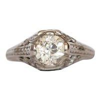 Circa 1920 Platinum GIA 1.07ct Old European Brilliant Diamond Engagement Ring-VEG#932A