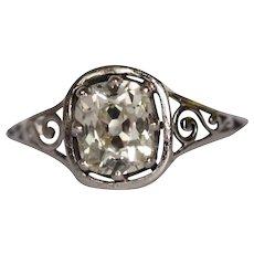 Circa 1910s 14k White Gold 1.37 Old Mine Cushion Diamond Engagement Ring-VEG#941A