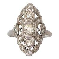 Circa 1920 Platinum .50ct Old European Brilliant Diamond Engagement Ring-VEG#977A