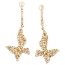 14K Yellow Gold Butterfly Pave Set Diamond Earrings