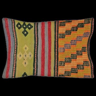 """1960s Turkish Kilim Pillow - 17"""" x 23"""""""
