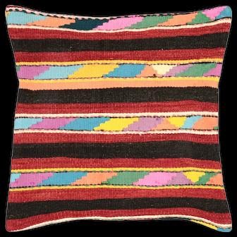 """1960s Turkish Kilim Pillow - 20"""" x 20"""""""