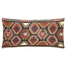 """1960s Turkish Kilim Pillow - 17"""" x 36"""""""