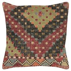 """1960s Turkish Kilim Pillow - 19"""" x 19"""""""