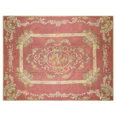 1940s Indian Aubusson-Style Chainstitched Carpet - 9' x 12'
