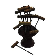 Vintage Collection of Hand Drills with Wood Stand