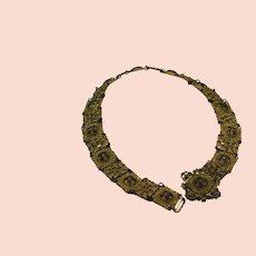 Vintage Enamel and Gold Metal Belt