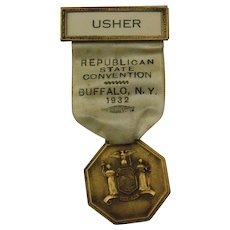 Vintage 1932 Republican State Convention Usher Badge